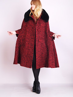 Vintage 1950's red tweed maxi cape with brown beaver fur collar.