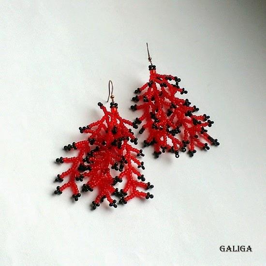 Red With Black Earrings-Coraling Beadwork Dangle Seed Bead Earrings