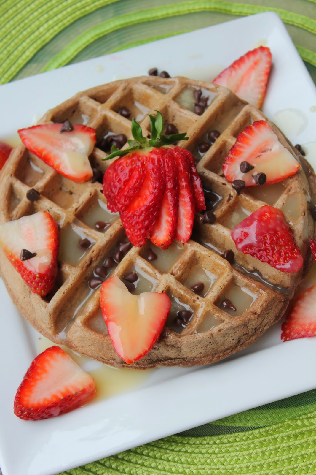 Recipe:  Breakfast, Recipe:  Bread, chocolate waffles, double chocolate waffles, strawberries, specialty syrup, butter syrup