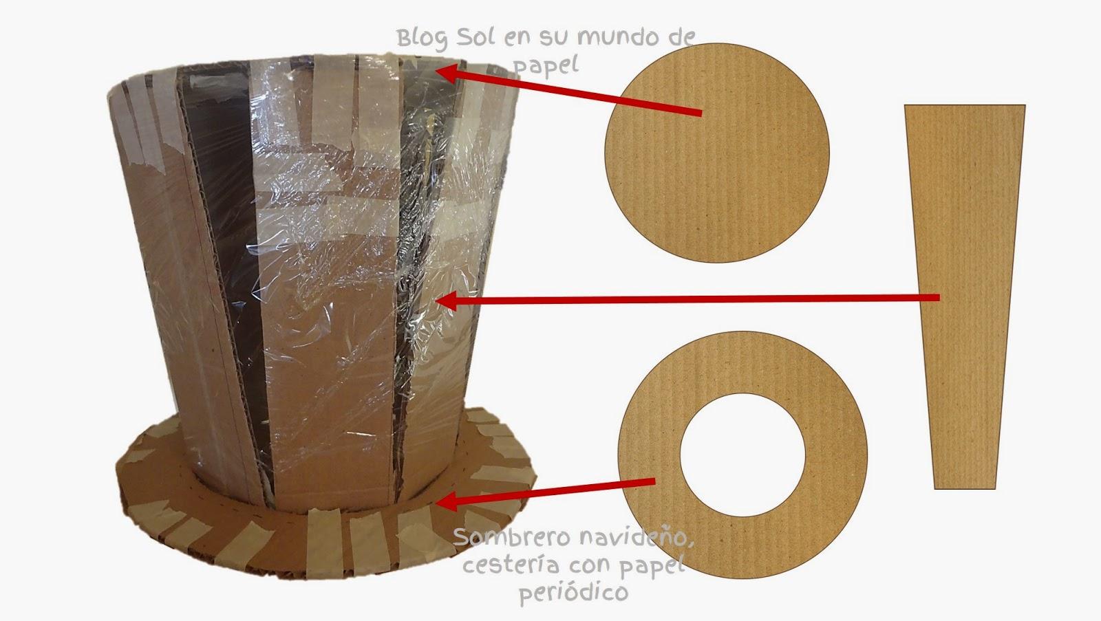 Sombrero navide o cester a con papel peri dico - Como hacer un estor enrollable paso a paso ...