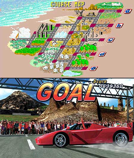 Top image of SEGA's original OutRun road map. Bottom image of SEGA's follow up OutRun 2 with a Ferrari skidded past the finish line, driver punching the air, fans waving their arms and 'GOAL' written above in huge letters.