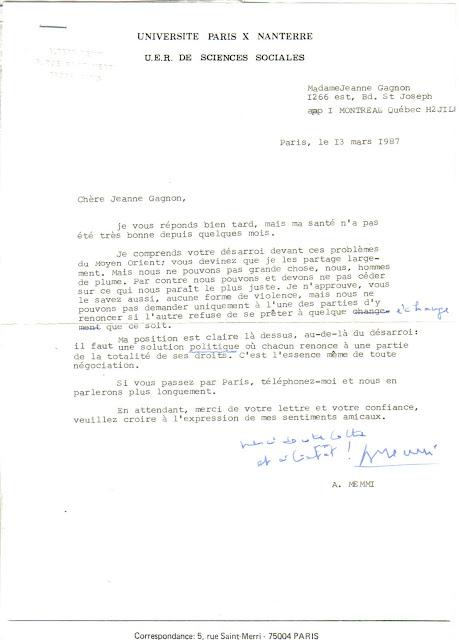 Lettre d'Albert Memmi