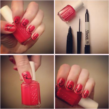 4. Valentine's Sharpie Nails - 10 Sharpie Manicure Ideas You Put It On