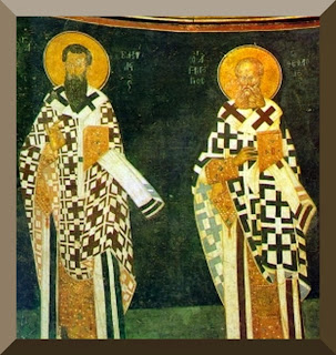 Byzantine icon of St. Basil the Great and St. Gregory of Nazianzus