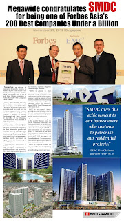 Megawide congratulates SMDC for being one of Forbes Asia's 200 Best Companies Under a Billion