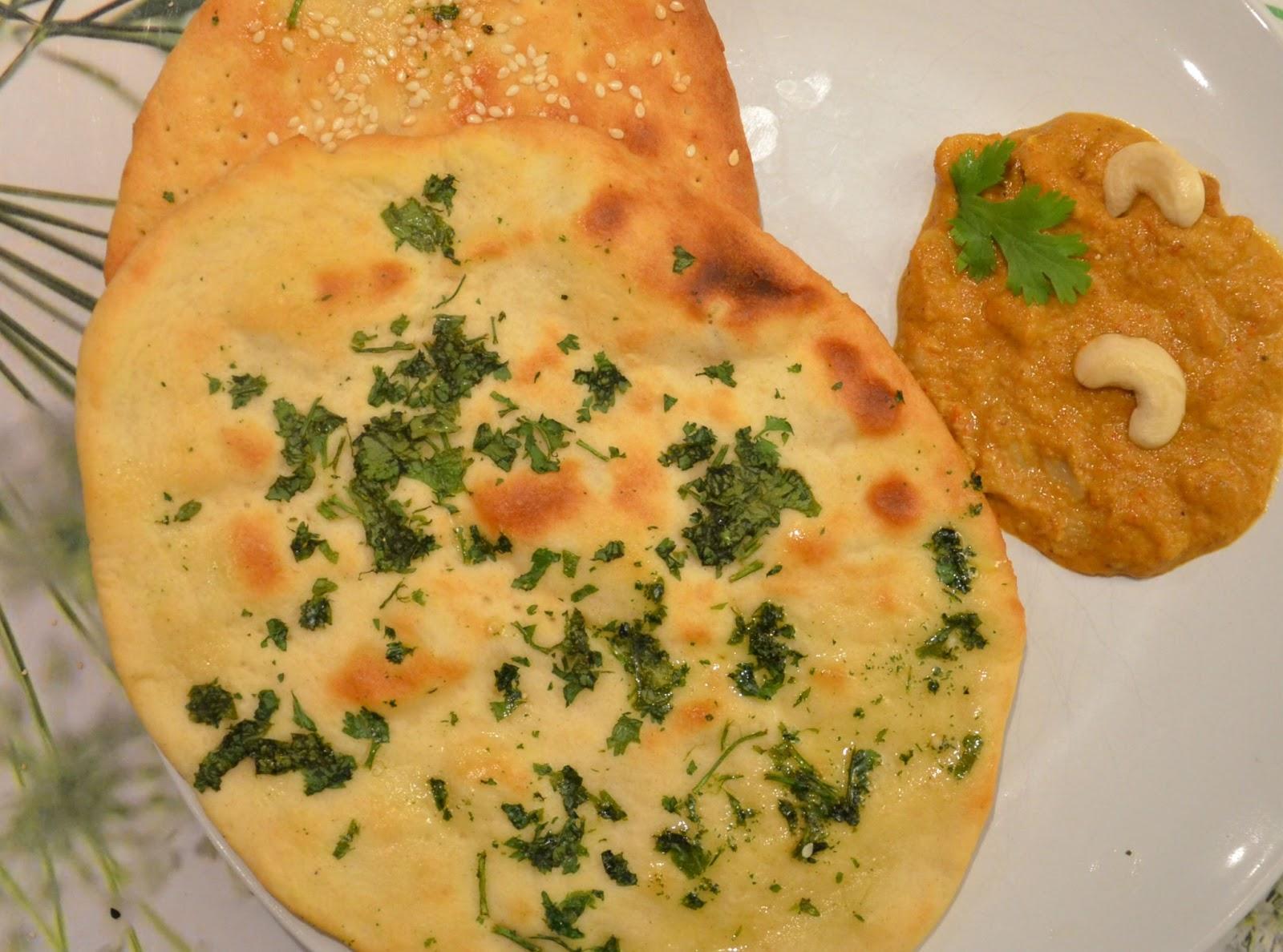 cashew curry, nan with cashew curry, kulcha with cashew curry, gravy ...