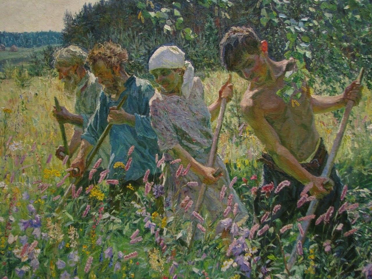 Arkady Plastov Haymaking detail