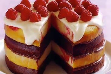 Raspberry Swirl White Chocolate Mud Cake