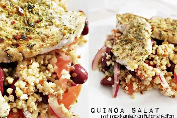 Qunioa Salat mit mexikanischen Putenbruststreifen