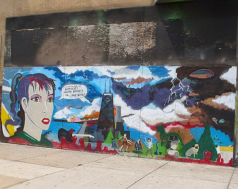 Lollapalooza-themed painted wall mural in Bucktown.