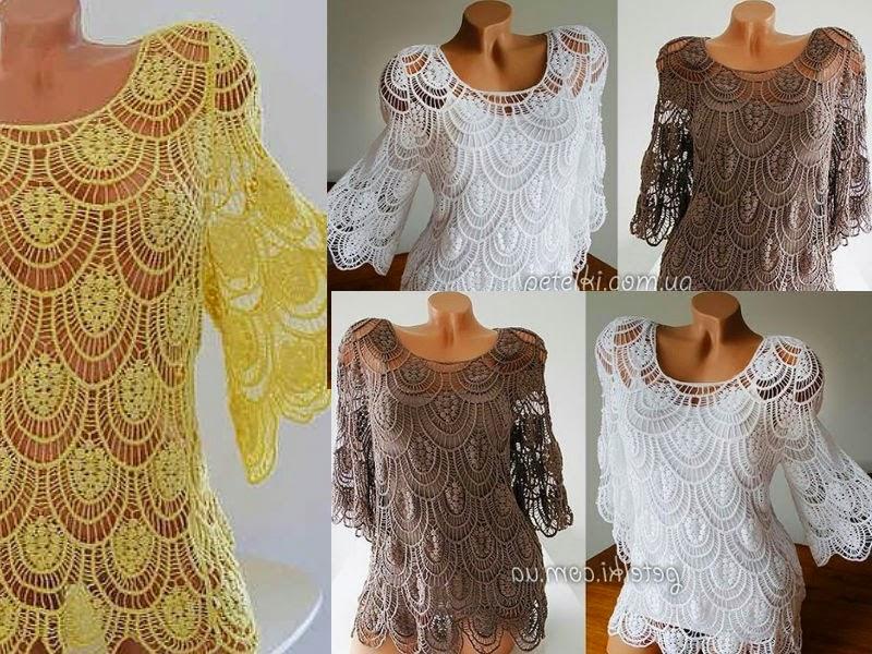 Delicadezas en crochet Gabriela: Blusa de encaje