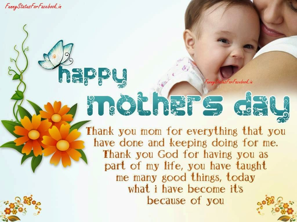 Mothers Day Message for Saying Thank You and Greeting eCard Picture By Funnystatusforfacebook.in