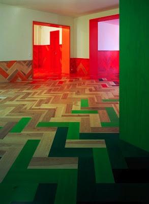 Pisos de madera Parquet con mucho Color