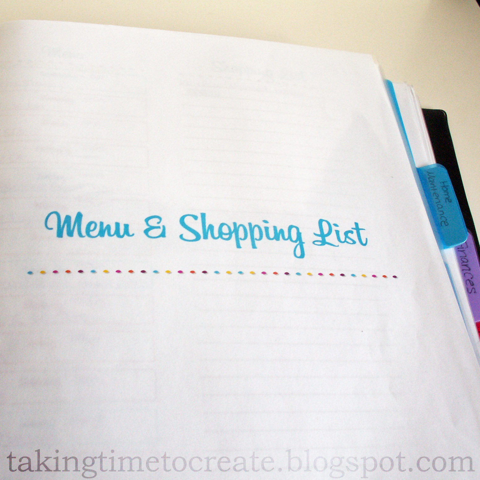 taking time to create  the household binder  free printables   part 1  to do u0026 39 s  food   u0026 home