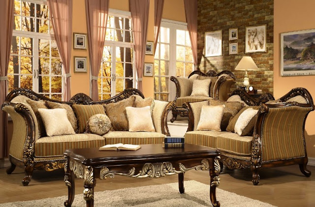 Victorian Style Living Room Furniture Silver Luxury Design