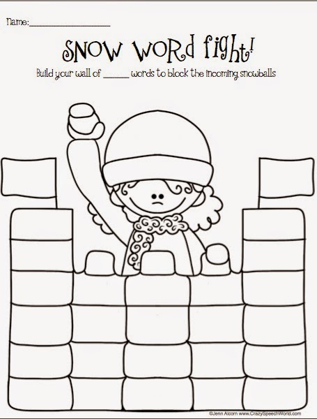 Speechie Freebies: Winter Fun Worksheets!