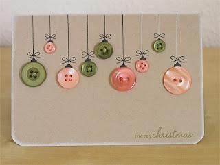 Cartão de natal feito com botões
