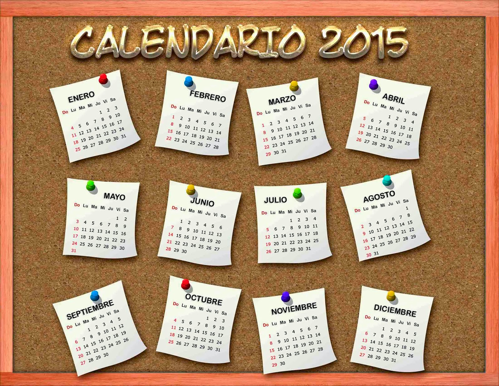 Pizarra de corcho con hojitas de papel y calendario 2015