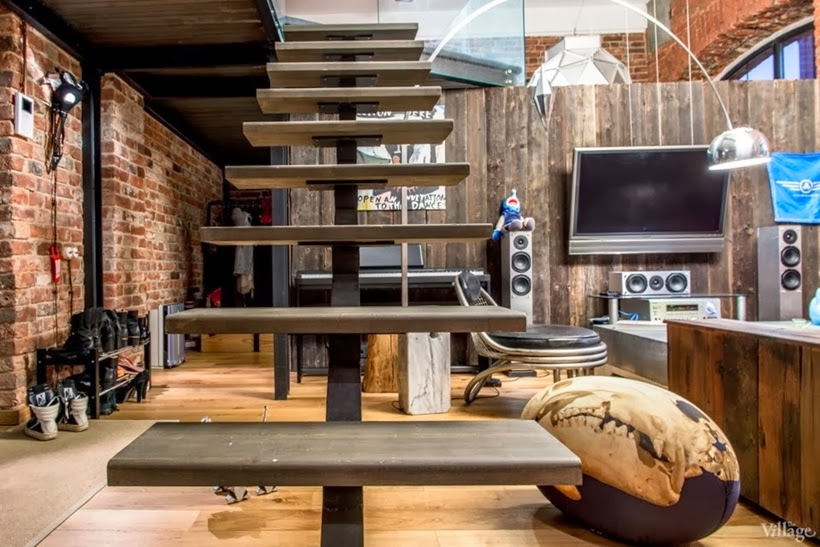 Stairs in Industrial interior design duplex apartment in Moscow