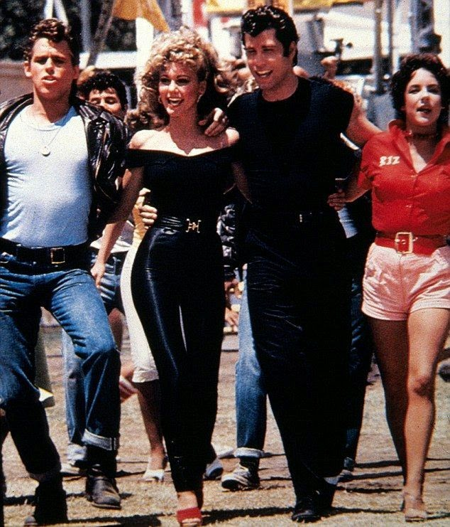 Olivia New John dancing in similar outfit who wearing by the funnylady alongside John Travolta for Grease TV Spot Movie in 1978.