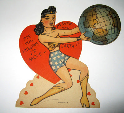 Wonder Woman Valentine's Day card from the 1950s