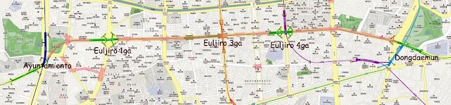 Mapa de la galería subterránea del metro de Seúl entre City Hall y Dongdaemun
