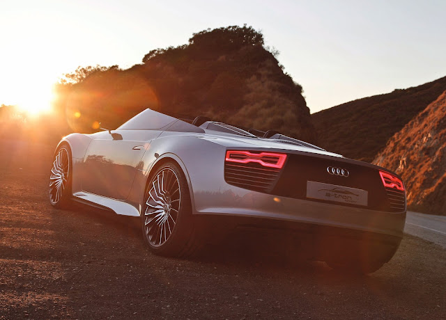 Audi E-tron Spyder  rear view HD Wallpaper
