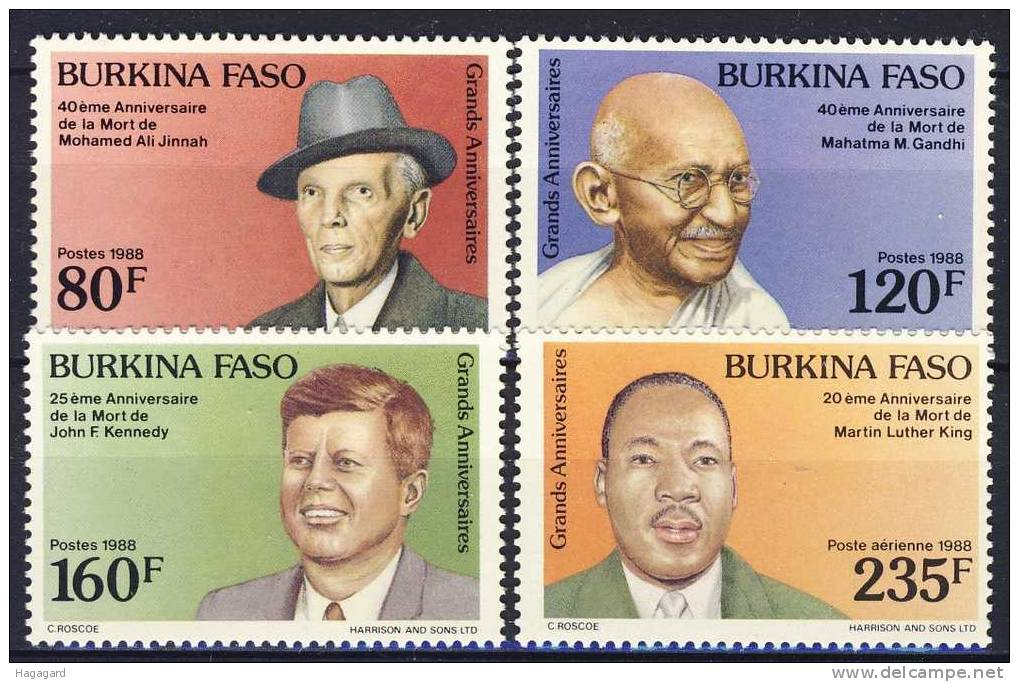 In 1988 Burkina Faso Previously Known As Upper Volta Issued Mahatma Gandhi Stamps Along With JFK MLK And Jinnah