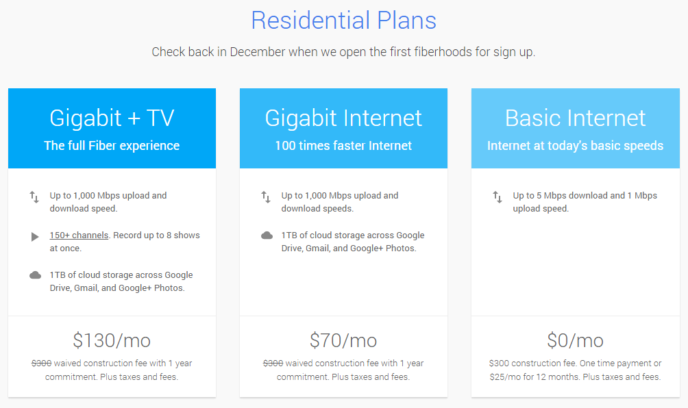Google Fiber Residential Rate Plans