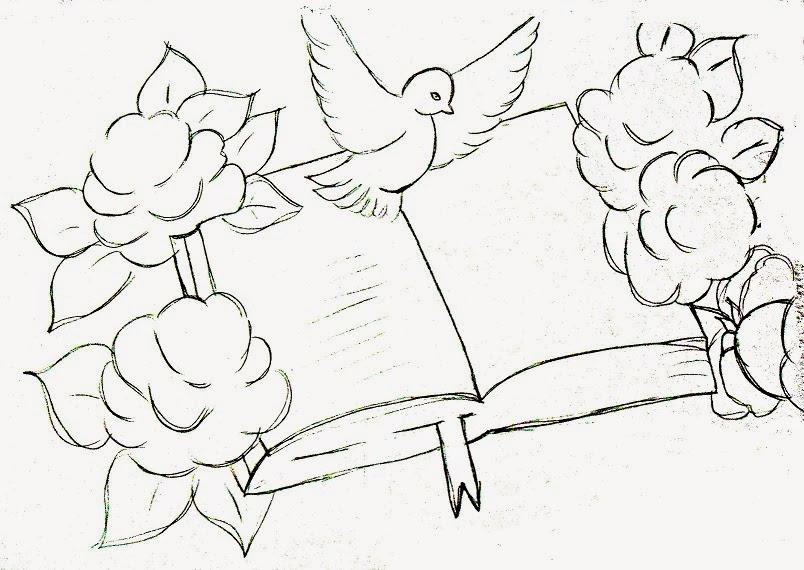 Desenho de biblia com rosas e pomba da paz para pintar