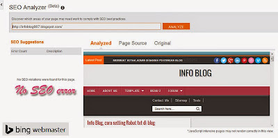Info Blog, bing webmaster analizer