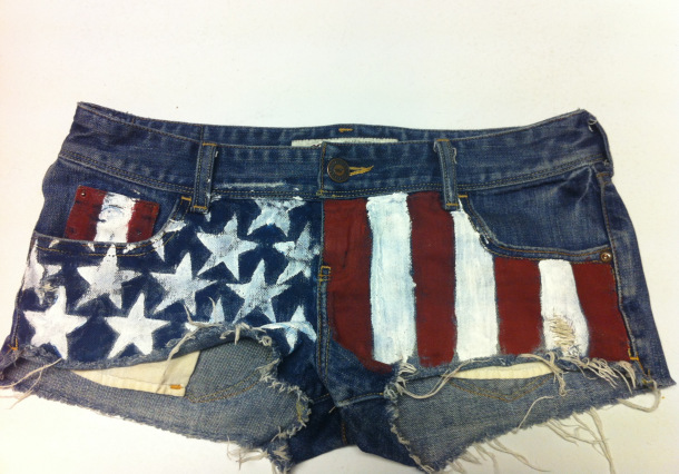 american flag shorts, DIY american flag shorts