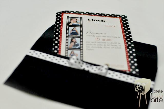 Convite de 15 anos Black or White