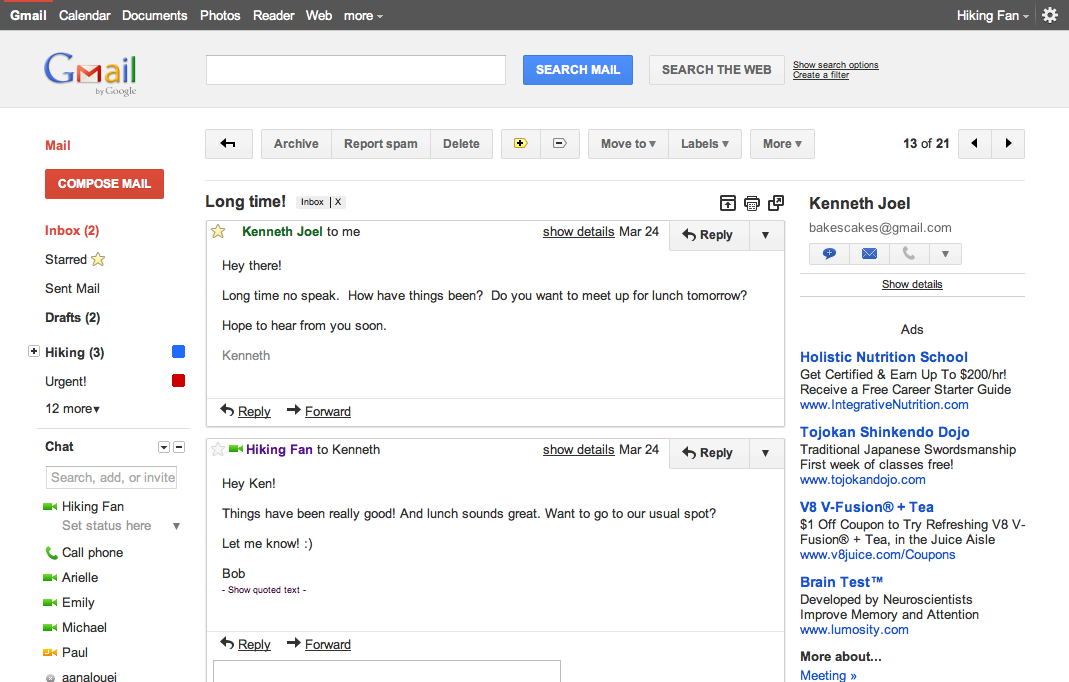 conversation view of gmail new look