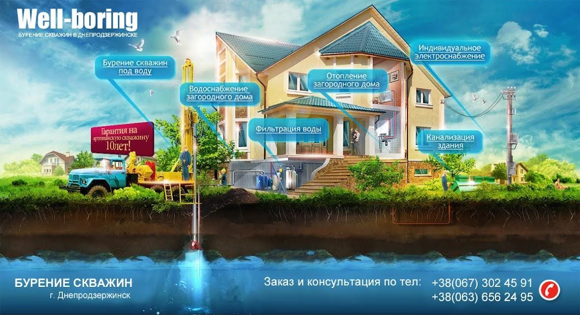 Бурение скважин на воду, бурение вручную, машинное бурение скважин в Днепродзержинске