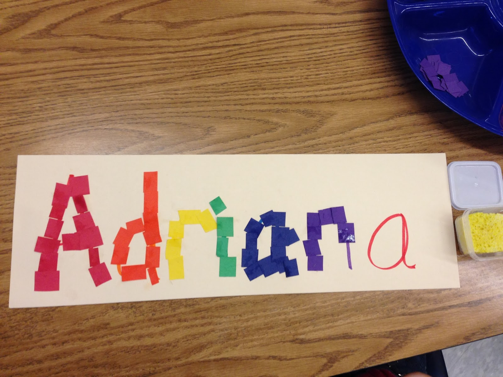 name art, collage art, rainbow names, kindergarten art