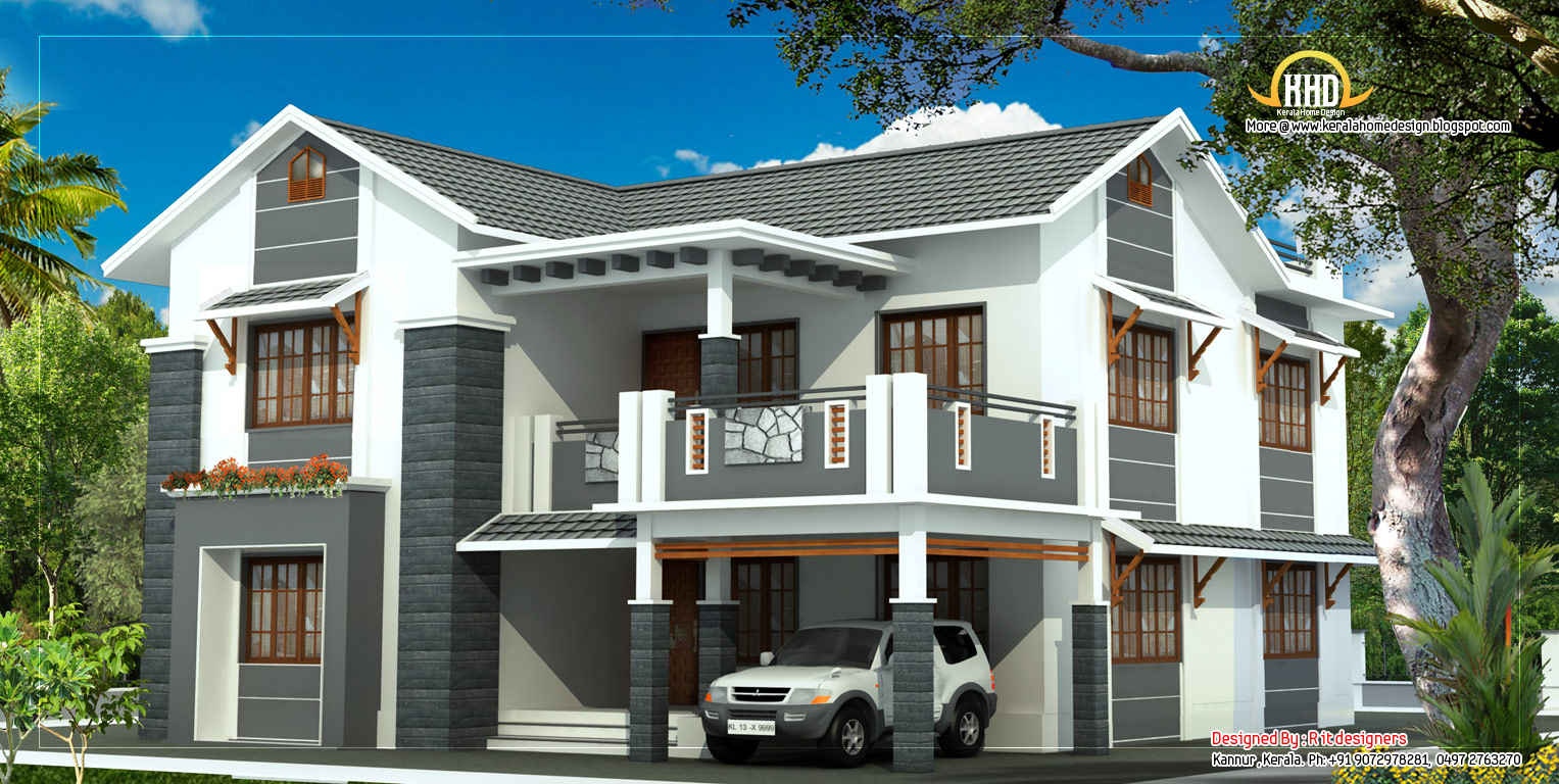 Beautiful 2 story house elevation 2805 sq ft home for Two storey house plans in kerala