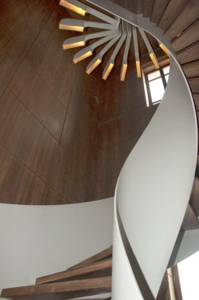 spiral stairs, stair lights from PSLAB