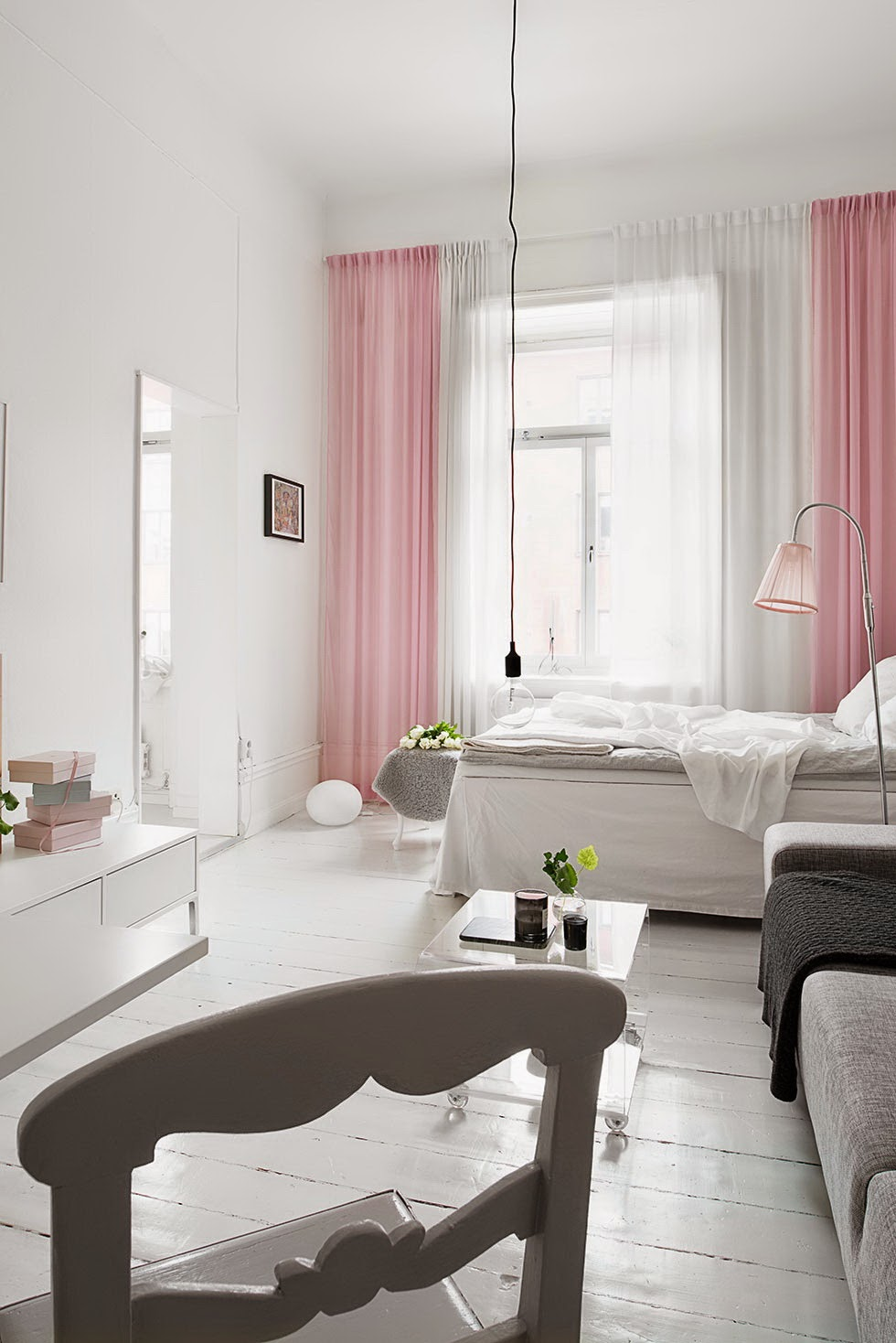 A combina o rosa cinza branco preto do tipo for Einrichtungsideen studentenzimmer