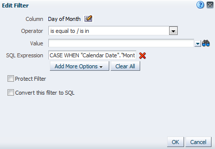 OBIEE Edit SQL Expression Filter