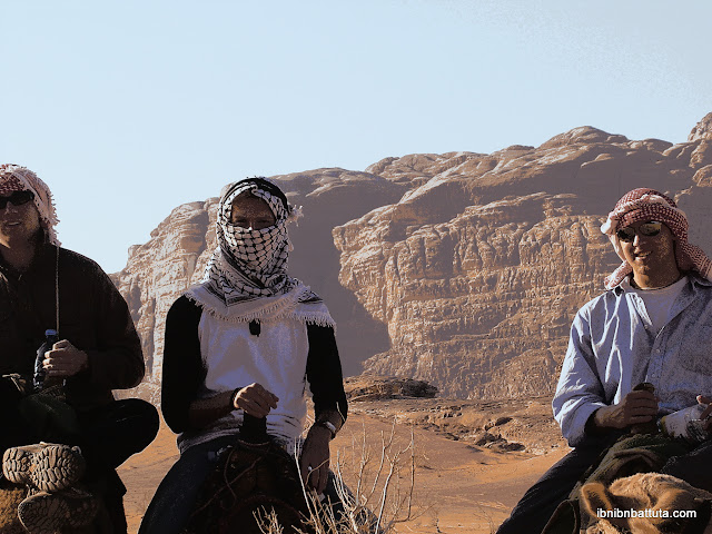Tom, Sami, and Andrew on camelback in Petra, Jordan.