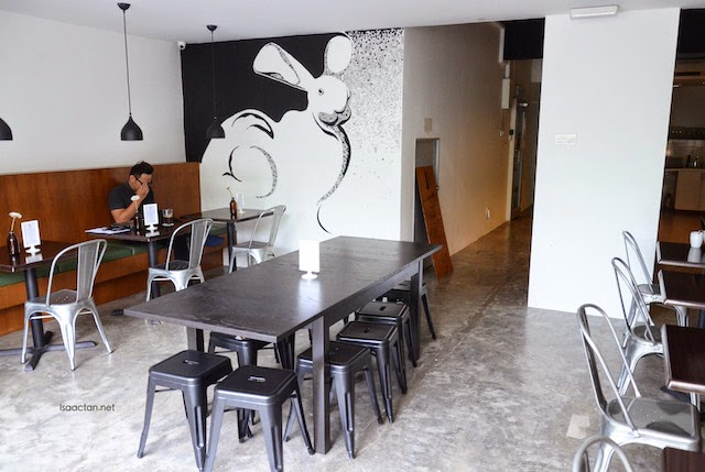With rabbit images adorning the walls of Le Lapin Cafe