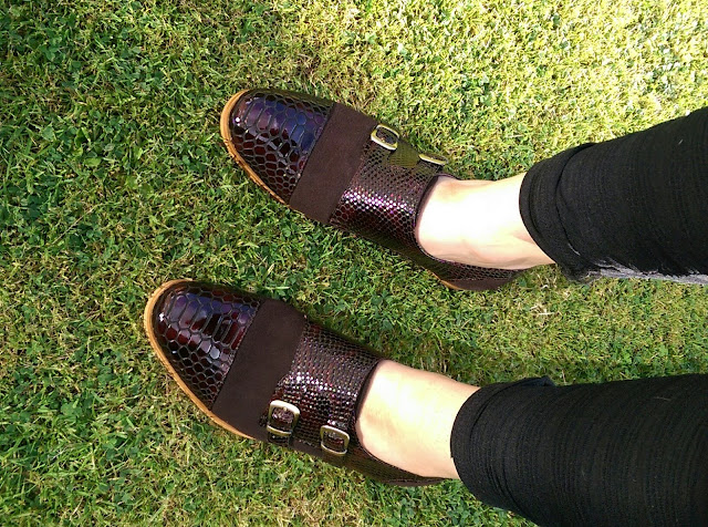 Laceys London Monk Strap Snake Print Leather shoes on Hello Terri Lowe, UK fashion blog.