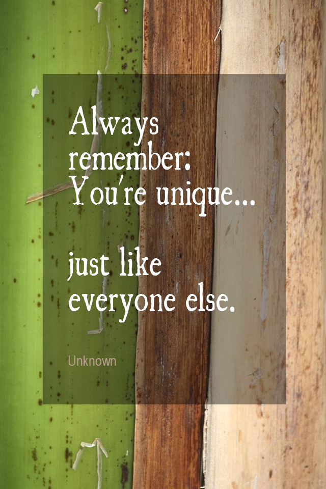 visual quote - image quotation for INDIVIDUALITY - Always remember: You're unique... just like everyone else. - Unknown