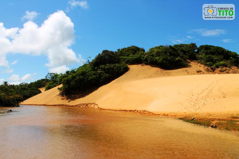 Riacho da Lagoa Redonda e dunas, na Reserva Biológica de Santa Isabel, em Pirambu, Sergipe