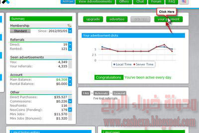 شرح تحويل الأموال من موقع neobux