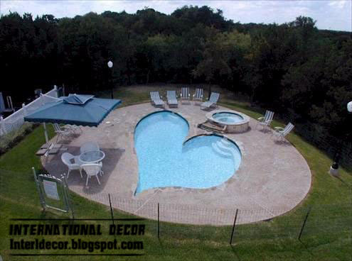 heart swimming pool design including jacuzzi and childrens wadding - Outdoor Swimming Pool Designs