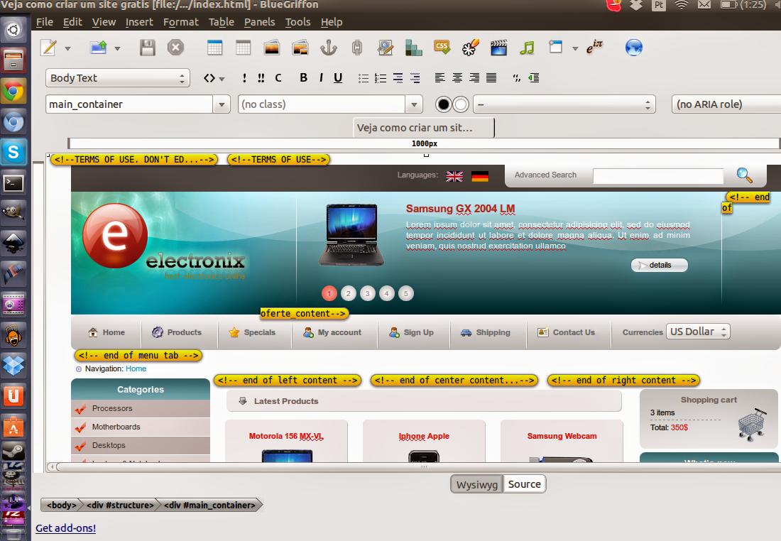 Editor com WYSIWYG no Ubuntu