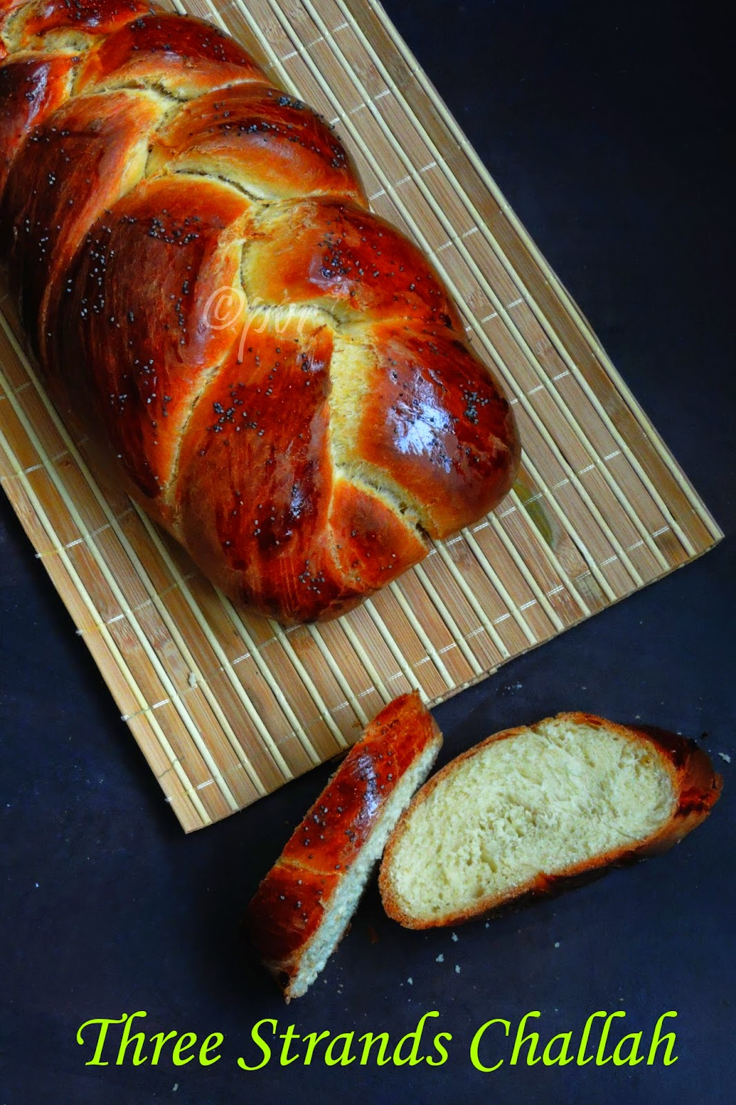 3 strands braided challah bread