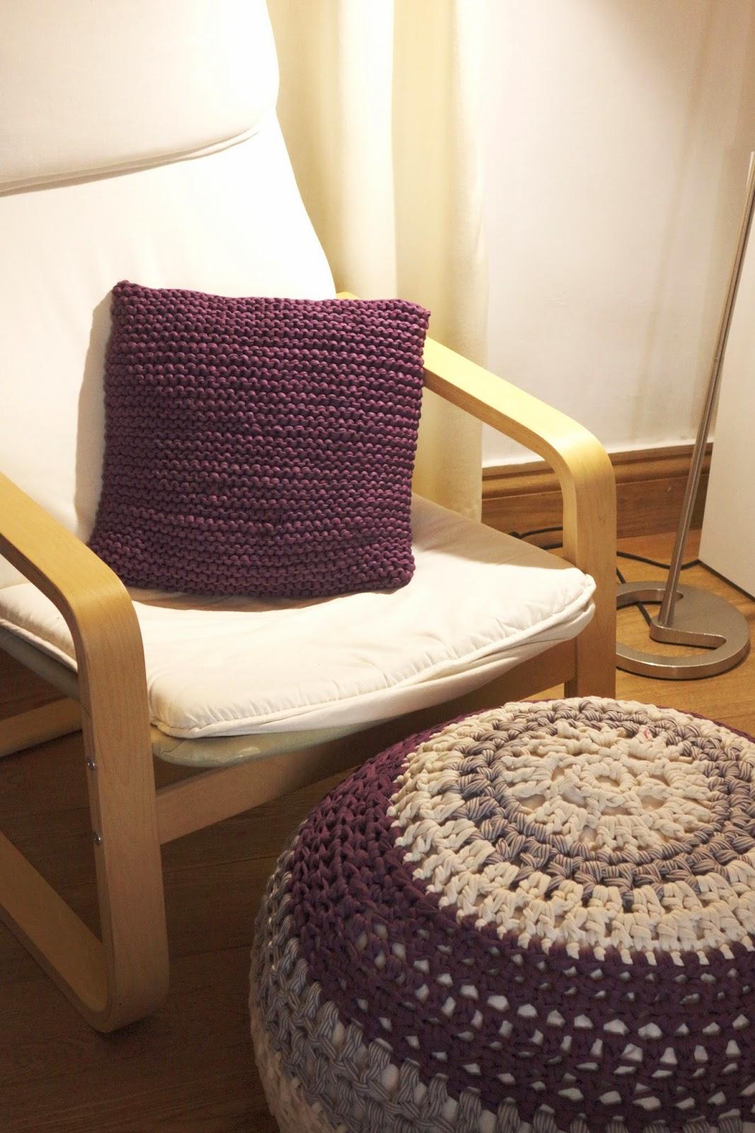 nunonu: Mis proyectos DIY: Funda de cojín + Puff de Trapillo